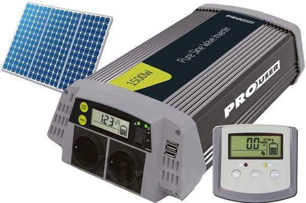 """Inverter, sinus """"ProUser"""" 1500/3000W med display/betjening"""