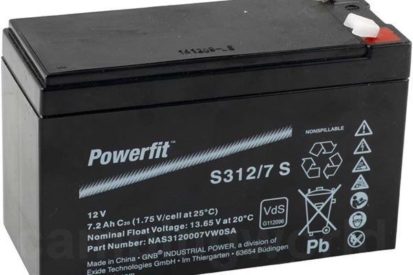 "Image of   Batteri AGM ""Powerfit"" 7A anvendes fx. ifm. gasalarm."