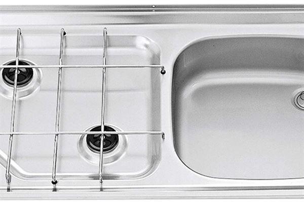 """Image of   Kogebord H """"Smev"""" med vask og 2 blus total mål (bxhxd):800x135x420 mm."""