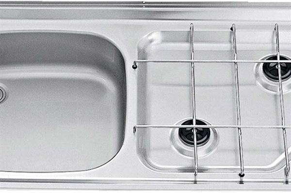 """Image of   Kogebord V """"Smev"""" med vask og 2 blus total mål (bxhxd):800x135x420 mm."""