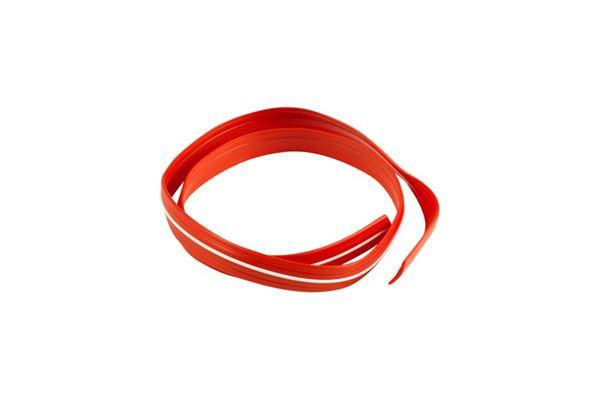 Indlæg til skinner rød m. hvid stribe 12 mm bred (høj profil)