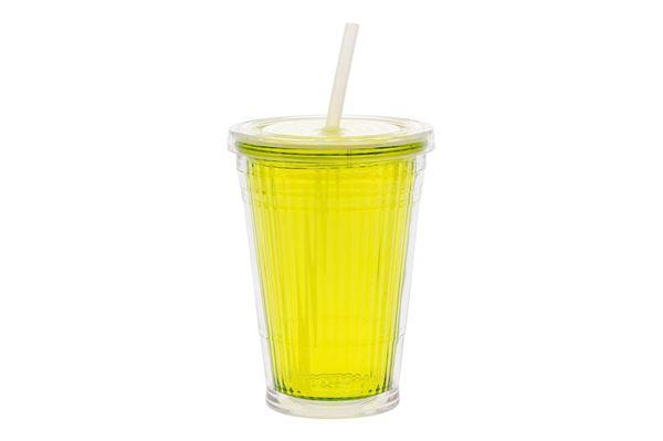 """Image of   Bæger """"Gimex Lemon"""" m. låg og sugerør 45 cl."""