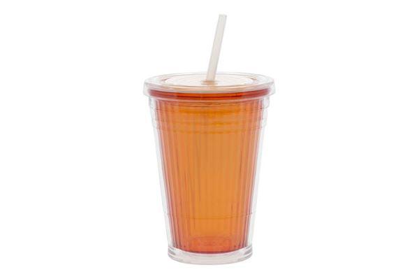 """Image of   Bæger """"Gimex Orange"""" m. låg og sugerør 45 cl."""