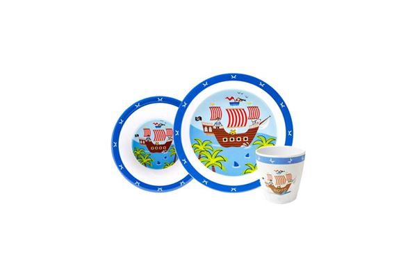 "Image of   Børnemelaminsæt ""Pirateventyr"" 3 dele, tallerken, skål og krus"