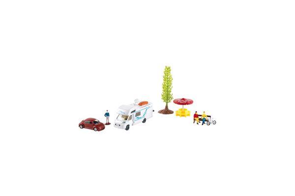 Legetøjssæt Autocamper med tilbehør 9 dele
