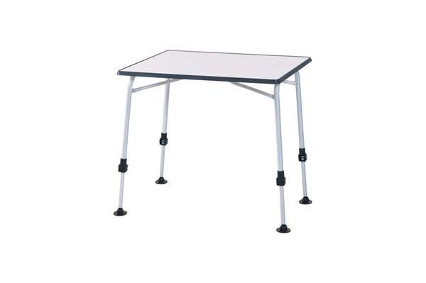 """Campingbord """"WeCamp"""" 80 x 60 cm. med grå kant og justerbare ben."""