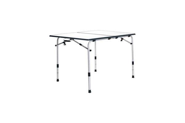 """Campingbord """"Wecamp"""" 120 x 80 cm. foldbart,med grå kant og justerbare ben"""