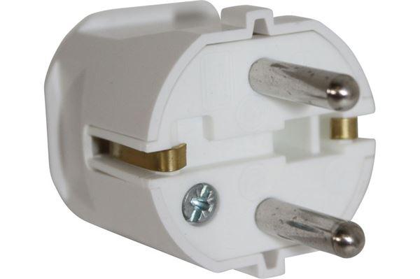 Image of   230 V Schuko hanstik med jord, hvid
