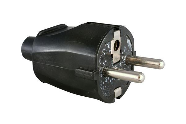 Image of   230 V Schuko hanstik med jord, sort