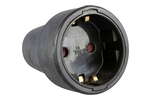 Image of   230 V Schuko hunstik med jord, sort