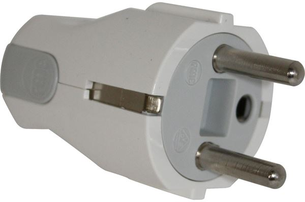Image of   230 V Schuko vinkel hanstik med jord, hvid