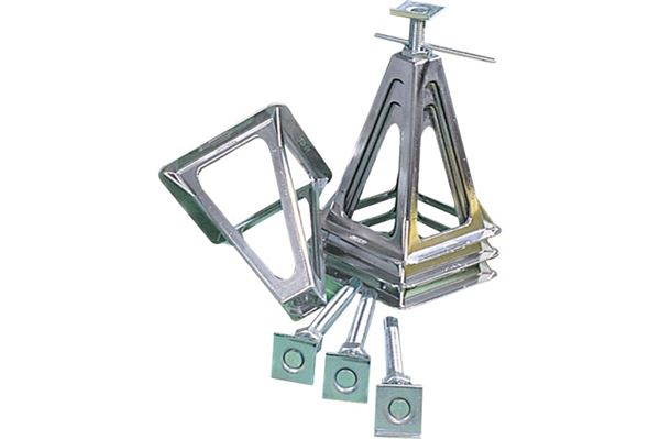 Bærefødder, poleret aluminium, bæreevne 1.000 kg pr fod