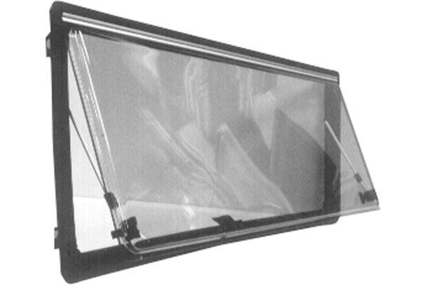 Brunt Bofors vindue, oplukkeligt med PVC karm, H 550 x L 1445 mm