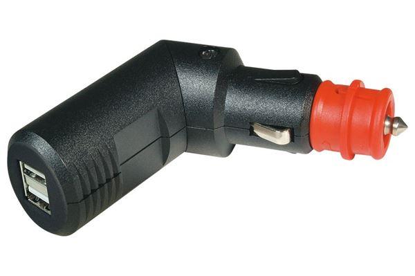 Image of   Dobbelt USB vinkelstik