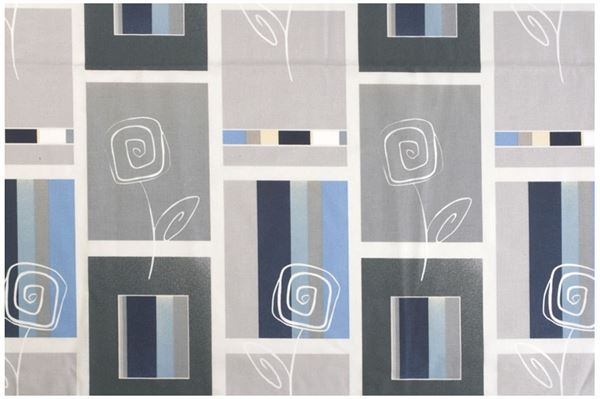 Gardinsæt til front og sider, grå og blå farver