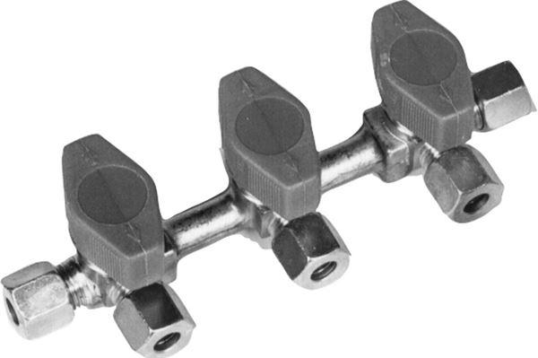 Gasblok med 3 haner, 10 mm, stål