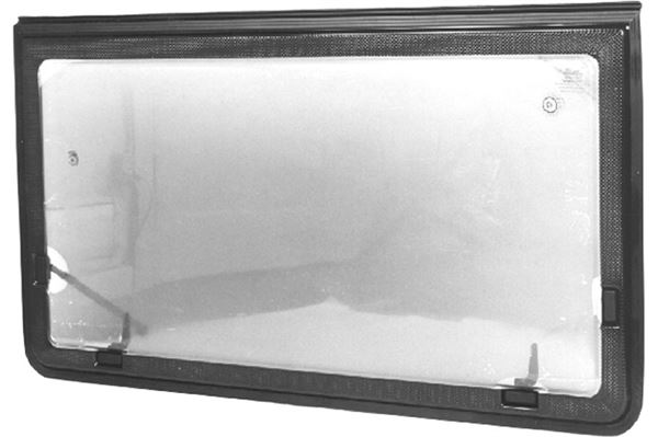 Klart vindue, oplukkeligt med grå PVC-kant, H 440 x L 660 mm