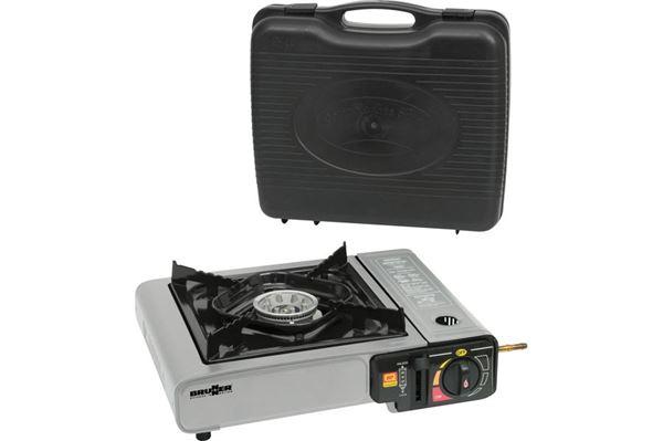 Kogeplade med integreret elektrisk piezo-tænding og aluminiumbrænder