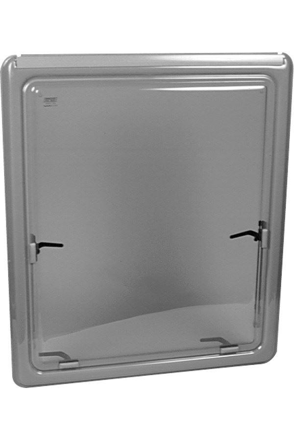 Oplukkeligt vindue, gråtonet med grå kant, ophæng i markiseliste, H 691 x L 1636 mm