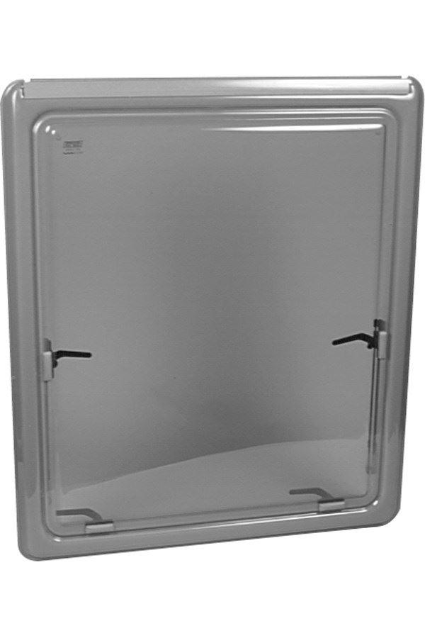 Oplukkeligt vindue med grå kant, ophæng i markiseliste, H 380 x L 1280 mm