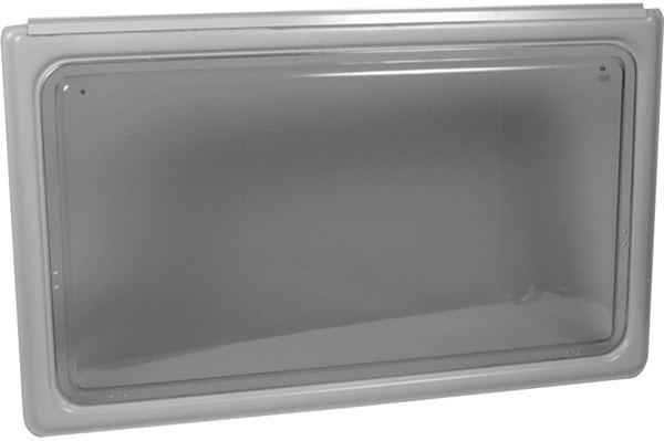 Oplukkeligt vindue med grå ramme, 1650 x 640 mm.