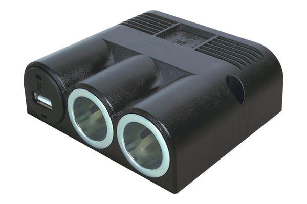 Image of   Påbygningsstikdåse 20 A med 3 stik 12 V - 1 x usb og 2 x 12 V