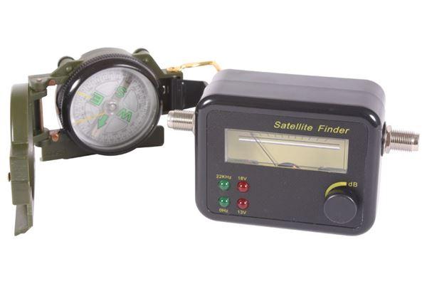 Satellit finder. 950-2150 MHZ, inkl. kompas og kabler.